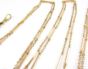 Antique Long Gold Filled Guard Chain, Alternating Bar Link & Trace Chain Style Necklace with Dog Clip. 140 cm / 55 inches long.
