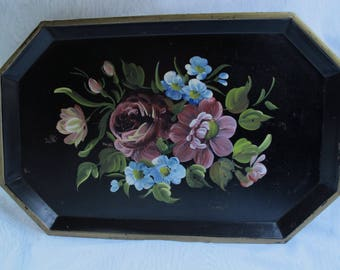 Black Tole Tray Vintage 1940s Handpainted Floral Rectangle Toleware