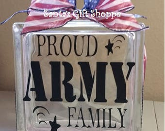 Army Decal, GlassBlock Lettering, Proud Family, Patriotic,Vinyl Lettering, stickers, Glass Block Crafts, 6.5in. x 6.5in.Christmas Gift