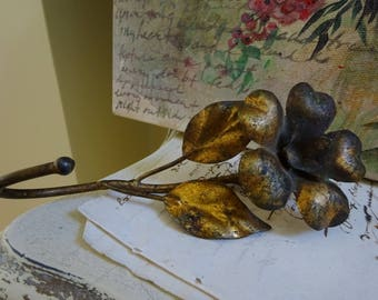 gorgeous vintage florentine tole metal flower wall hook amazing aged golden patina