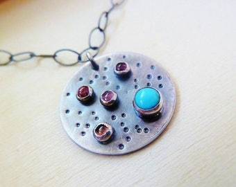 Clearance Pink Tourmaline and blue Turquoise galaxy round silver pendant necklace. October birthstone. Gifts for Libra. Silversmith artisan