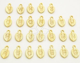 XIN-013-MG / 52 pcs - A-Z Full Set, 2 pcs each, Leaf Initial Letter Charm Pendants, Capital letter, Upper case, Matte Gold Plated Brass