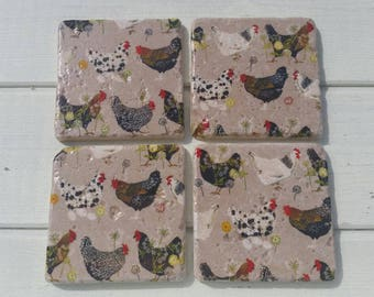 Country Kitchen Chicken Coaster Set of 4 Tea Coffee Beer Coasters