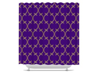 Moroccan Shower Curtain, faux gold lattice on purple, bathroom decor, bath curtain