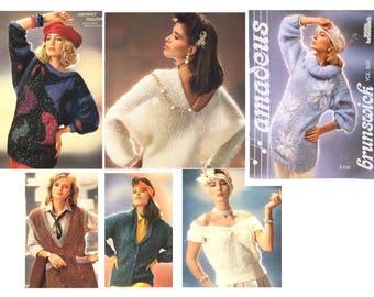 Vintage 80's Knitting Pattern, Snowflake Pullover Pattern, Knit Sweater Pattern, Knit Vest Pattern, 80's Fashion, 1986 Amadeus Brunswick