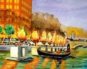 WaterFire Art Print art Print ( One Hundred  Bonfires,  Silhouettes of Firetenders & Enchanting Music in Providence RI )