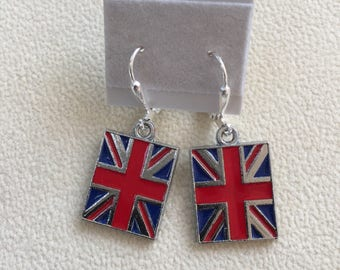 Union jack earrings, British Isles earrings, Union Jack jewelry, England earrings