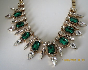 Green and White rhinestone necklace