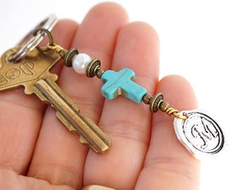 White Pearl Blue Turquoise Cross Keychain Favor Cross Key Chain Initial Monogram Keychain for Mom Custom Keychain Personalized Gift for men