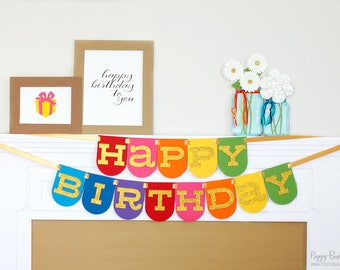 Rainbow Happy Birthday Panel Banner - Glittered Letters | Rainbow Party Decoration | Art Party | Rainbow Pony Garland | Troll Party