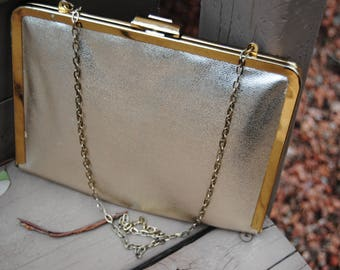 Vintage 1960's  Two Toned Gold Metallic Purse