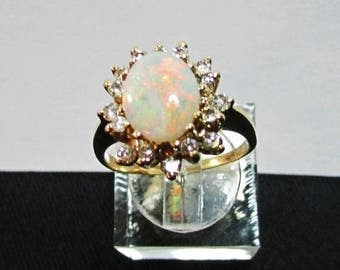 On Sale Vintage Estate 14K Yellow Gold Opal Diamond Accented Ring