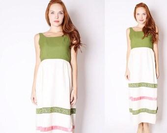 FLASH SALE - Vintage 1960s Dress - Vintage Maxi Dress  - 60s Wedding Dress - Pink and Green Dress - 2557