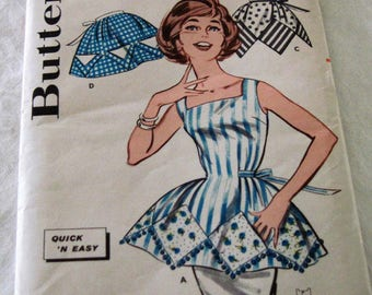 Vintage Butterick Sewing Pattern # 9578, Cobbler & Half Aprons Circa 1960's Never Used