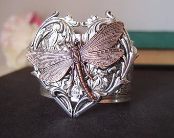 Victorian dragonfly cuff--- Aged silver brass, highly detailed, art nouveau, ornated, adjustable Victorian bangle/cuff