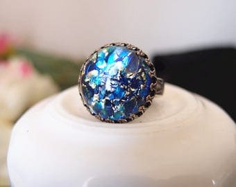 Lycoris No.6---large blue fire opal glass stone antique silver brass adjustable ring