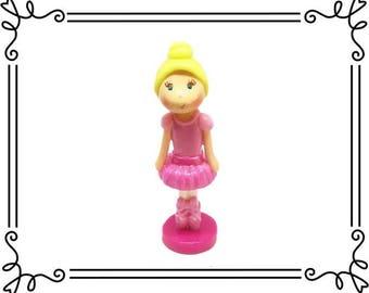 Cold Porcelain Clay Ballerina Figurine, Ballerina Cake Topper, Birthday Cake Topper, Ballet Cake Topper, Blonde Ballerina in Pink, Keepsake