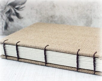 ON SALE Blank Art Journal 8x10 Journal Watercolor Journal Mixed Media Journal Sketch Journal Hand Bound Book Burlap Journal Coptic Stitch Ar