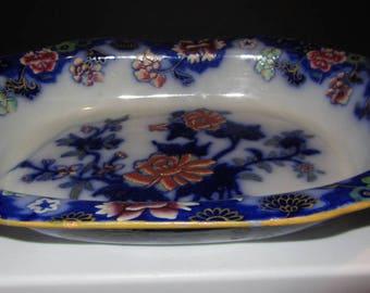 Antique Copeland Garret Spode #7441 *1846 * Dark Flow Blue Floral Vegetable Bowl