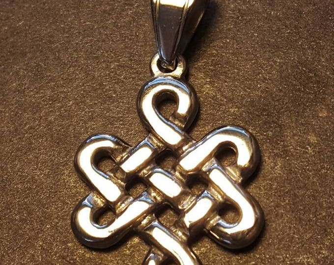 Large Endless Knot Pendant in Stainess Steel