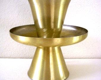 Vintage 60s Space Age Lamp - Brushed Gold Aluminum Atomic Up Light Cone Boudroir Lamp - Sputnik Mid Century Modern Leviton Lamp - Minimalist