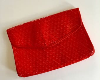 vintage straw clutch - CANDIED APPLE wicker bag