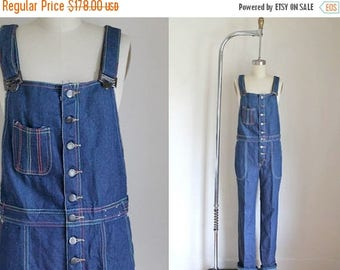 AWAY SALE 20% off vintage 1970s denim overalls - FREDERICK's of Hollywood rainbow stiched jumpsuit / S-M