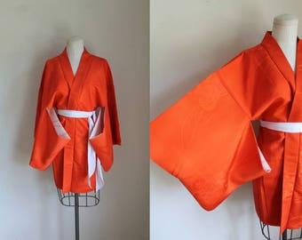 vintage haori - JINRIKISHA red/orange kimono jacket (deadstock)