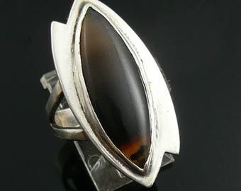 BIG Vintage 1960s 70s Handmade Sterling Silver & Banded Agate Geometric Modernist Cocktail RING Size 6.5