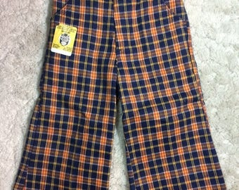 20% SALE 1970s Deadstock Boys size 3 Plaid Flared Pants Hippy Buster Brown