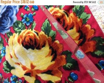 SUMMER SALE 70s Velvety Lady Tie Neck Scarf Floral Grandma Kitsch