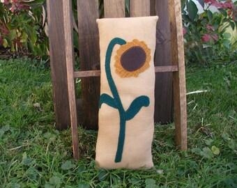 Primitive SunflowerFeedsack Pillow - Penny Rug Pillow- Primitive Flower Pillow