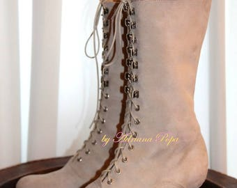 Victorian Booties Edwardian booties leather boots in Champagne suede leather color Lace up Boots Ankle Boots Wedding Booties