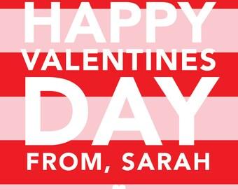 Valentine Stripe Red, Valentine's sticker, Square Stickers, Personalized Stickers, Custom Stickers, Name Stickers, holiday stickers