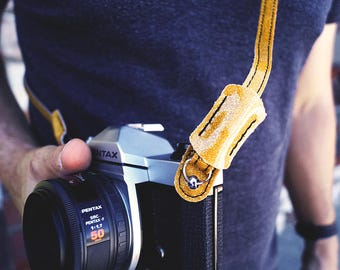 Gold Sparkle Slim Camera Strap Leica Vegan also Available in Blue
