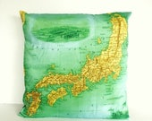 SALE SALE SALE Vintage map print Japan Cushion cover/ organic cotton cushion cover/ 16 inch pillow cover / 40cm cushion cover