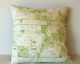 SALE SALE SALE Cushion cover, pillow city map Las Vegas organic cotton vintage map cushion, 16 inch 41cm, 16x16 cushion