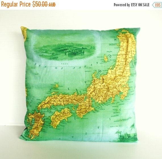 SALE SALE SALE Vintage map print Japan Cushion cover/ organic cotton cushion cover/ 16 inch pillow cover / 40cm cushion cover