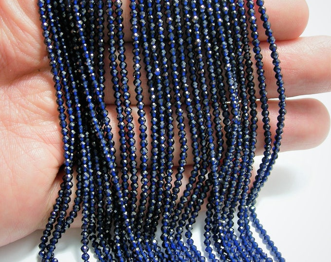 Blue Sapphire - 2mm micro faceted round beads - 1 full strand  16 inch 40 cm - 189 beads - AA Quality - Lab created Blue Sapphire  - PG139
