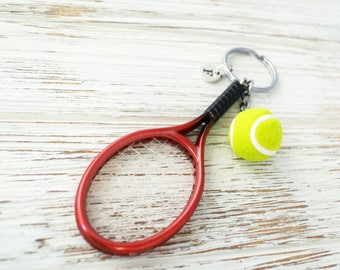 Red tennis racket keychain for tennis player gift-Personalized initial sports keychain-Custom tennis keychain gift for him-Tennis team gift