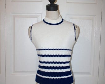 50% OFF SALE 1960s Knit Sweater Vest . Vintage 60s California Sleeveless Acrylic Sweater White with Navy Blue Stripes . Size Small Medium