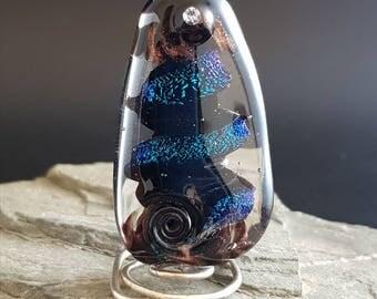 Lampwork Glass Focal Bead handmade iridescent blue bead silver glass bead