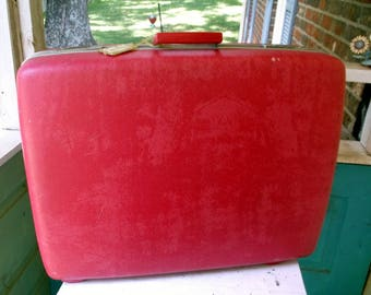 Vintage Red Royal Traveller Suitcase Luggage Large with Pink Interior and polka dots