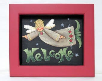Welcome Angel Sign, Hand Crafted Wood Frame from Recycled Wood, Tole Painted, Folk Art Angel, Welcome Sign, Angel Sign,  Red Frame