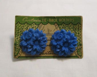 Vintage Two Blue Floral Curtain Tie Back Holders On Card