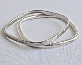 Modernist Square Bangle Bracelet Set Sterling Hammered Silver Minimalist Vintage Mexican Bracelet Duo Set Of 2 925 Taxco Mexico