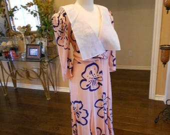 ON SALE NOW 80s does 20s Silk Dress / Downton Abby Silk Dress / Pink Silk Dress / Size 12