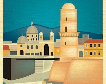 Marseille Skyline Print, Marseille France art,Marseille Print, Marseille Baby Art, Marseille Art, Marseille Print, style E8-O-MARS