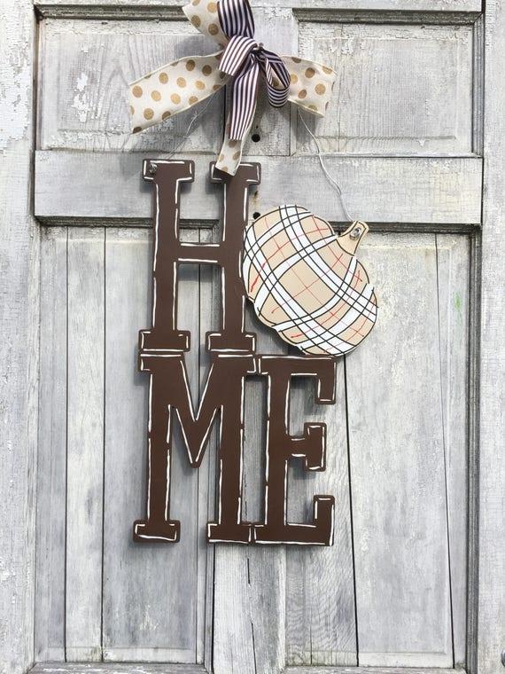 Pumpkin HOME Door hanger, Home Door hanger, fall door hanger, autumn door hanger, farm house door hanger, plaid pumpkin sign,