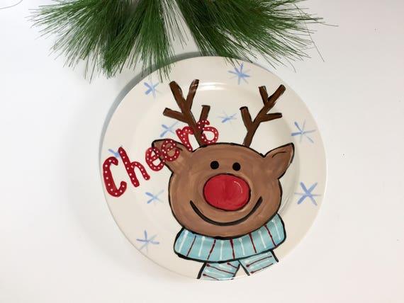 Hand painted Reindeer Christmas Platter, Christmas cookie plate, reindeer Christmas plate, Christmas platter, Hand painted Christmas